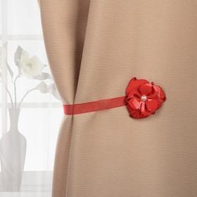 Подхват для штор «Цветок с жемчужиной», d = 6 см, цвет красный Ош