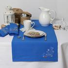 """Дорожка на стол """"Этель"""" Снегири, 140х40 цвет синий, с ВМГО хл, 200 гр/м²"""