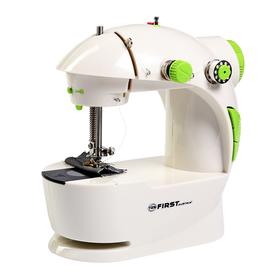 Швейная машинка FIRST FA-5700, 1 операция, полуавтомат, от батареек/сети, бело-зелёная Ош
