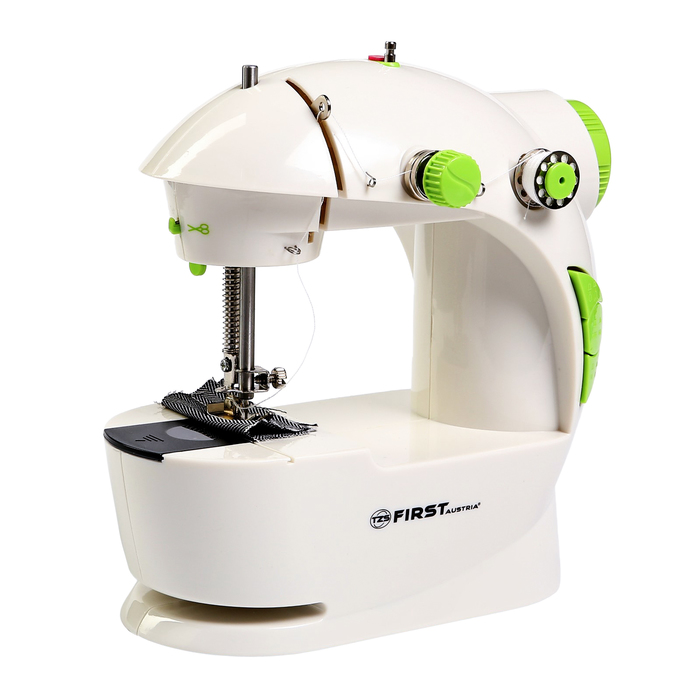 Швейная машинка FIRST FA-5700, 1 операция, полуавтомат, от батареек/сети, бело-зелёная