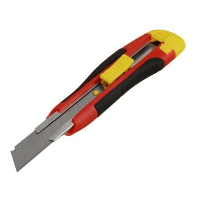 Нож универсальный Hobbi, прорезиненный корпус, квадратный фиксатор, усиленный, 18 мм