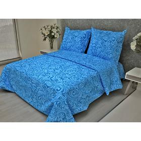 Постельное бельё 1,5 сп. La Marka Home «Узоры Синие» 147х210, 150х210, 70х70 2шт