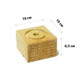Субстрат минераловатный в кубике, 10 × 10 × 6,5 см, отверстие 15 × 15 мм, «Эковер» Ош
