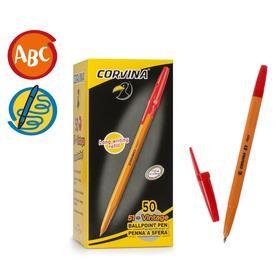 Ручка шариковая Carioca Corvina 51 жёлтый корпус, узел 1.0 мм, чернила красные