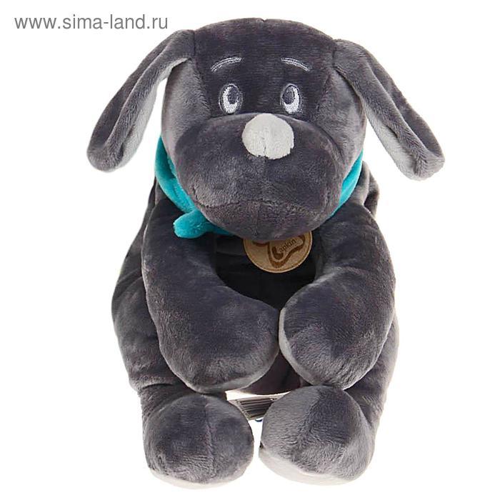 """Мягкая игрушка """"Собака"""", цвет серый/бирюзовый, 30 см"""