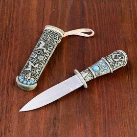 Сувенирный кинжал, 10 см, резной, с камнями Ош