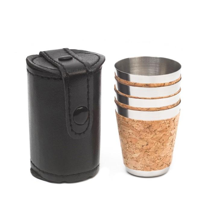 Набор рюмок, 4 шт по 30 мл, в черном чехле, 4х7 см