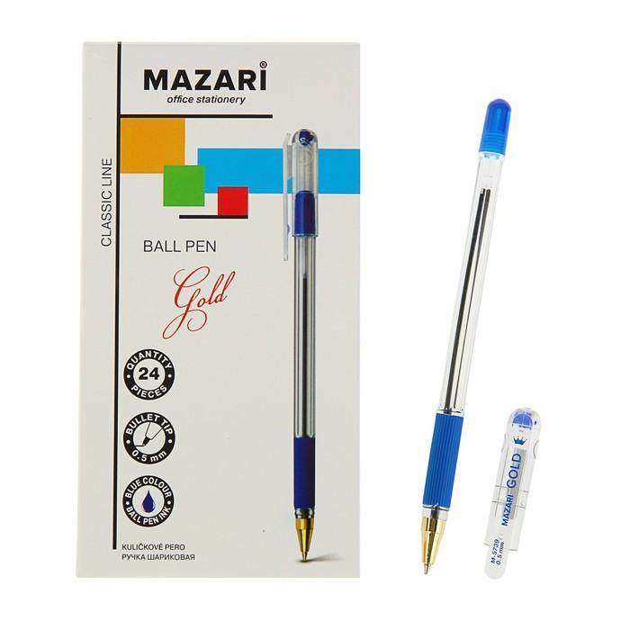 купить Ручка шариковая Mazari Gold, 0.5 мм, резиновый упор, синяя