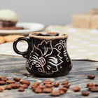 """Чашка кофейная """"Цветы"""", роспись, цвет темно-коричневый, 0.12 л"""
