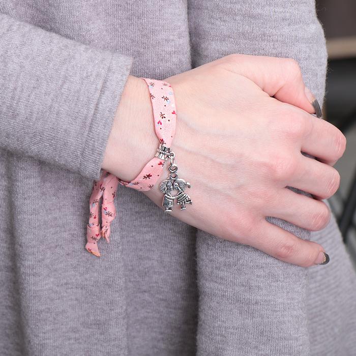 """Браслет ассорти """"Любовь"""" поцелуй, цвет розовый в чернёном серебре"""