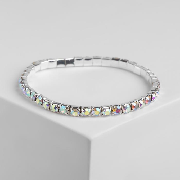 Браслет со стразами Лёд 1 ряд, цвет радужный в серебре, 4 мм,d7см