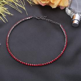 Колье 'Лёд', 1 ряд, цвет красный в сером металле Ош