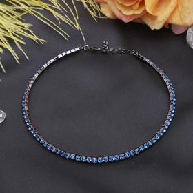 Колье 'Лёд', 1 ряд, цвет синий в сером металле Ош