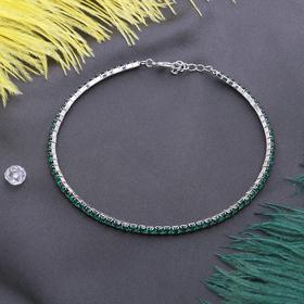 Колье 'Лёд', 1 ряд, цвет зелёный в серебре Ош