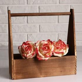 Кашпо деревянное 30×14×30 см 'Таёжный', с ручкой, брашированный Дарим Красиво Ош