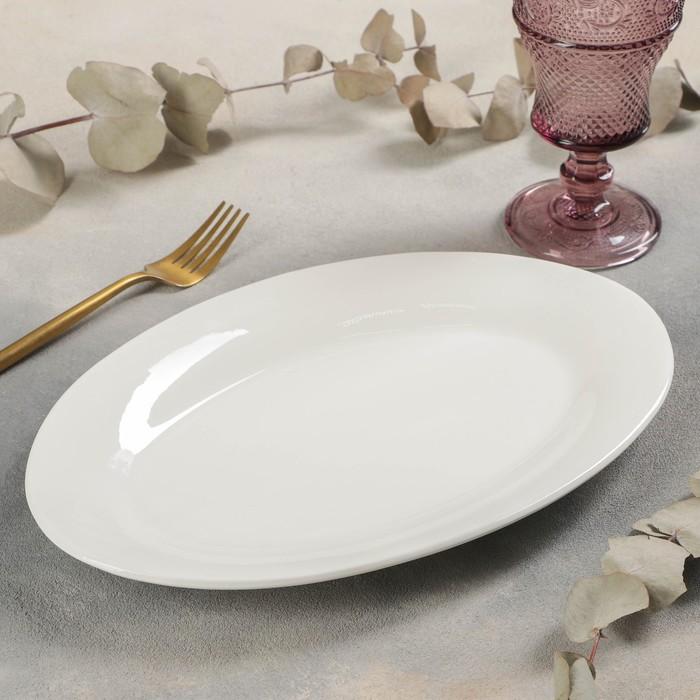 Блюдо овальное White Label, 31×22×3 см, c утолщённым краем, цвет белый