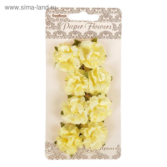 Цветы гвоздики из бумаги (набор 8 шт) кремовые