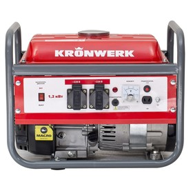 Генератор KRONWERK LK 1500, бензиновый, 1.2 кВт, 220 В, бак 6 л, ручной старт