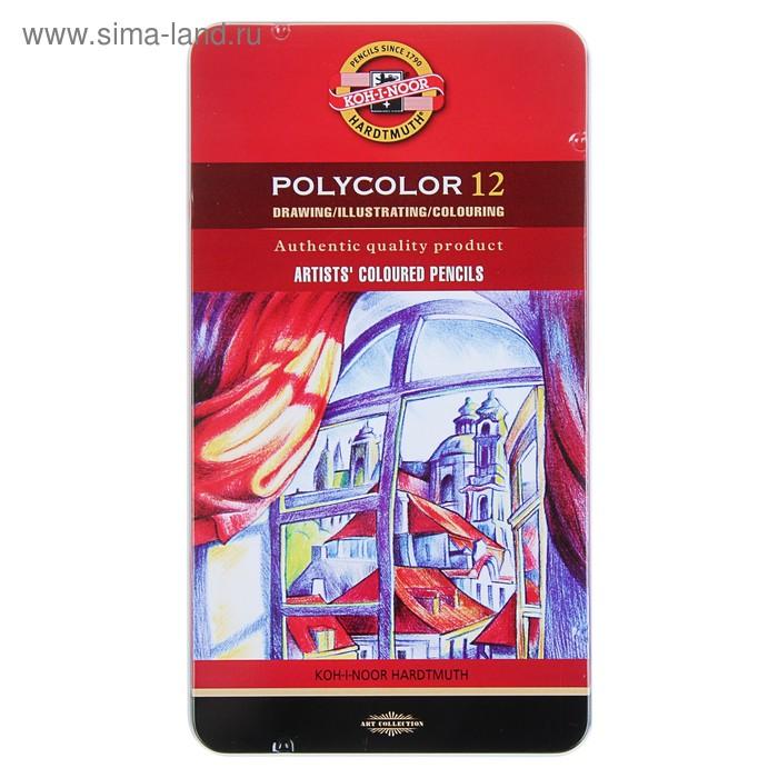 Карандаши Koh-I-Noor 3822 PolyColor художественные, мягкие, 12 цветов, в металлическом пенале