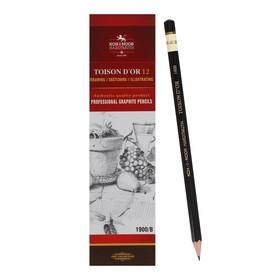 Карандаш профессиональный чернографитный 2.0 мм, Koh-I-Noor 1900 B, L=175 мм