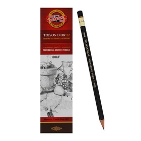 Карандаш профессиональный чернографитный 2.0 мм, Koh-I-Noor 1900 F, L=175 мм