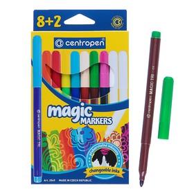 Фломастеры 10 цветов, Centropen 2549/08 Magic, меняют цвет, + 8 цветов + 2 поглотителя, картонная упаковка