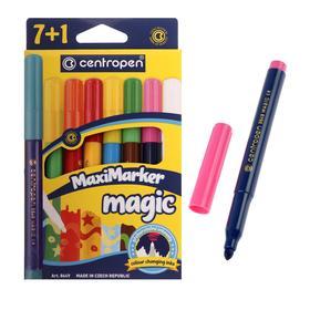 Фломастеры 8 цветов, Centropen 8649/08 Magic, меняют цвет, 7 цветов + 1 поглотитель, картонная упаковка