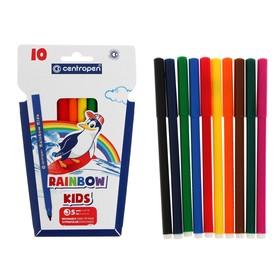Фломастеры 10 цветов, Centropen Rainbow Kids 7550/10, пластиковый конверт, линия 1.0 мм