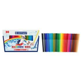Фломастеры 30 цветов, Centropen 7550/30 Rainbow Kids, пластиковый конверт, линия 1.0 мм