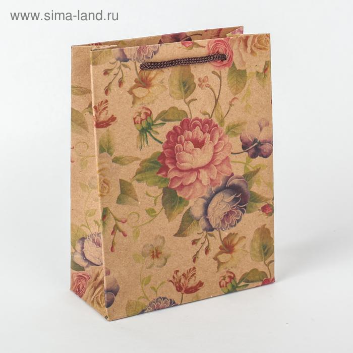 """Пакет крафт """"Нежные цветы"""", 11 х 5,5 х 14,5 см"""