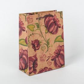 Пакет крафт 'Яркий цветок', 11 х 5,5 х 14,5 см Ош