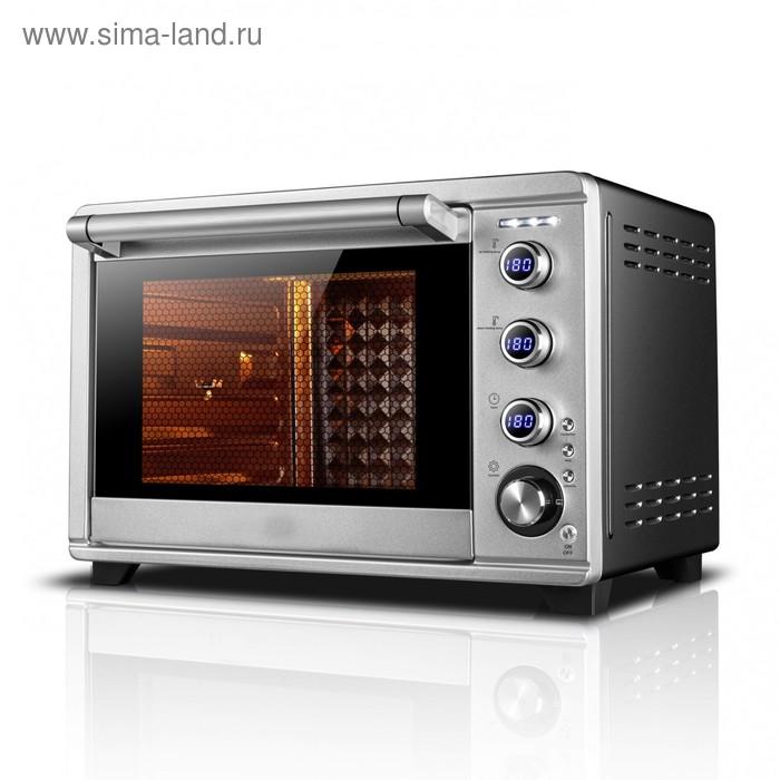 Мини-печь Gemlux GL-OR-2265, 2200 Вт, 65 л, конвекция, гриль, таймер 120 мин, серебристая