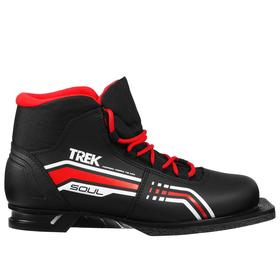 Ботинки лыжные ТРЕК Soul NN75 ИК, цвет чёрный, лого красный, размер 44