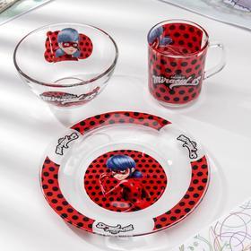 Набор посуды «Леди Баг и Супер Кот», 3 предмета: кружка 250 мл, салатник 250 мл d=13 см, тарелка d=19,5 см, подарочная упаковка