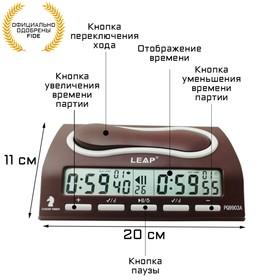 Часы для шахмат электронные, прямоугольные, бордовые, 23х12.5 см Ош