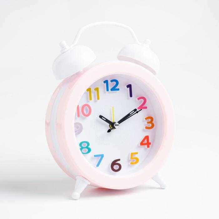 """Будильник """"Гармония"""", дискретный ход, 14 х 12.5 см, d=10 см, розовый"""