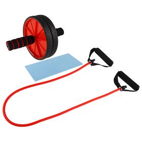 Набор для фитнеса (ролик для пресса+эспандер), цвет красный Ош