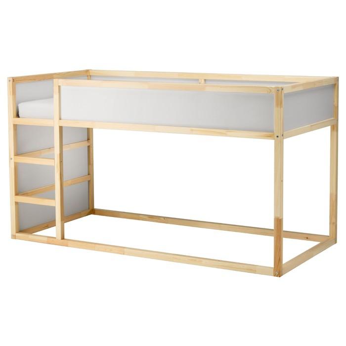 Двусторонняя кровать КЮРА, с основанием, белый, сосна, 90х200 см
