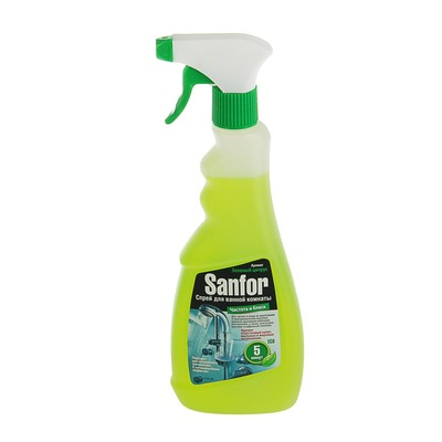"""Средство для чистки ванной комнаты Sanfor """"Зеленый цитрус"""" спрей, 500 мл - Фото 1"""