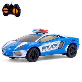 Машина радиоуправляемая «Дорожный патруль», работает от батареек, цвет синий Ош