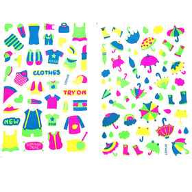 Наклейка пластик фосфорная с блестками 'Одежда' МИКС 23,5х11,5 см Ош