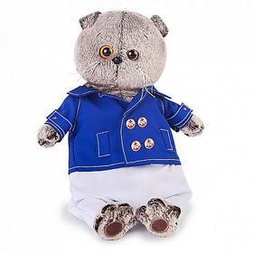 Мягкая игрушка «Басик», в синем кителе, 19 см
