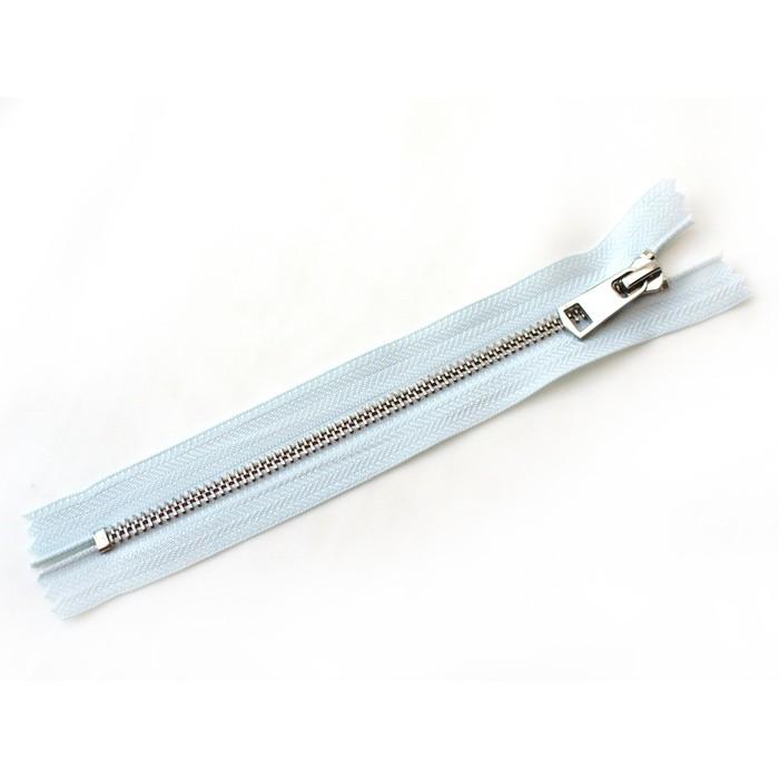 Молния ZZD, №5, металлическая, неразъёмная, 18см, цвет D541 светло-синий, никель