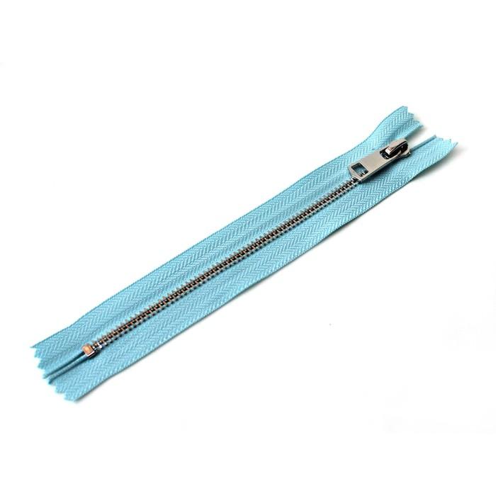 Молния ZZD, №5, металлическая, неразъёмная, 18см, цвет D901 светло-синий, никель
