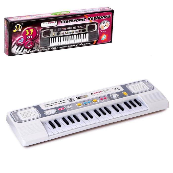 """Синтезатор """"Веселая мелодия-2"""", серебрянный с микрофоном, 37 клавиш."""