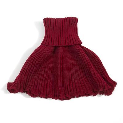 Шарф-манишка вязанная детская, размер 5-8 лет, цвет красный