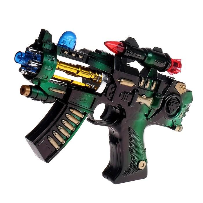 """Автомат """"Крутые пушки"""", световые и звуковые эффекты, работает от батареек, цвета МИКС"""