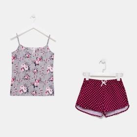 Пижама женская (майка, шорты)  633/2 цвет серый/бордовый, р-р 42