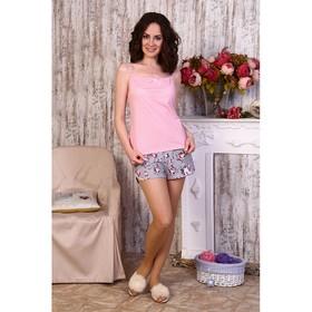 Пижама женская (майка, шорты), цвет розовый/серый, размер 42