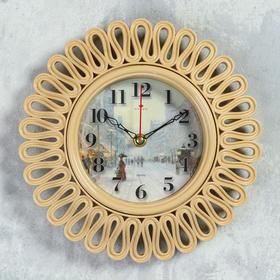 Часы настенные круглые 'Зимняя улочка', корпус витой бежевый, 26х26 см Ош